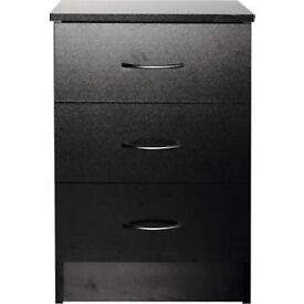 Cheval 3 Drawer Bedside Chest - Black