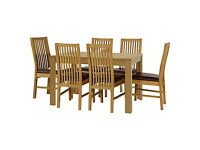 HOME Penley Oak Stain Extendable Dining Table-6 Paris Chairs