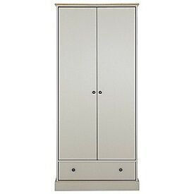 Kensington 2 Door 1 Drawer Wardrobe - Putty & Oak Effect