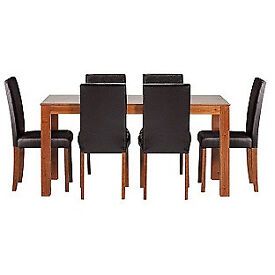 Newton Walnut Stain Dining Table & 6 Black Chairs