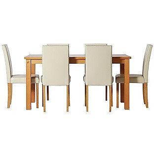 HOME Ashdon 150cm Table & 6 Midback Chairs -Oak Stain Cream
