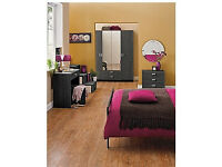 New Capella 4 Door 2 Drawer Mirrored Wardrobe - Black