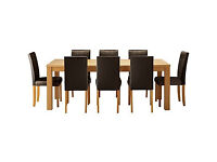 HOME Hemsley Extendable Dining Table & 8 Chairs - Chocolate