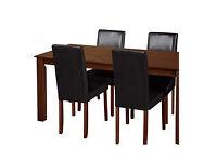 Ashdon Walnut Stain 120cm Dining & 4 Black Mid Back Chairs
