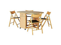 Willow Oak Stain Folding Dining Table & 4 Folding Chairs