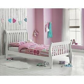 Daisy Sleigh Single Bed Frame - White
