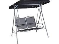 Malibu 2 Seater Garden Swing Chair - Black