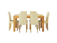 Newton Oak Stain Dining Table & 6 Cream Chairs