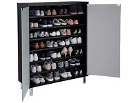 Hygena Milan Storage Cabinet with Frosted Glass Doors -Black