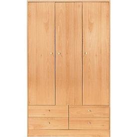 New Malibu 3 Door 4 Drawer Wardrobe - Beech Effect