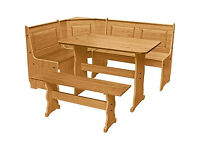Puerto Rico 3 Corner Bench Nook Pine Table and Bench Set -Damaged top