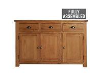 Kent 3 Door 3 Drawer Sideboard - Solid Oak & Oak Veneer