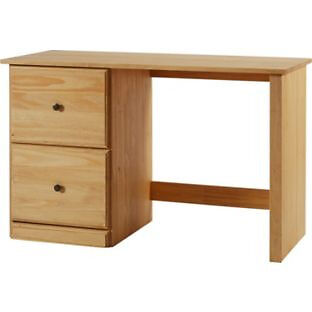 Preston 2 Drawer Solid Pine Office Desk - Light