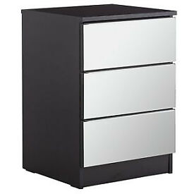 Sandon 3 Drawer Bedside Chest - Black and Mirrored