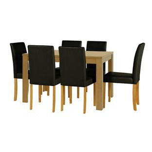 Penley Oak Stain Extendable Dining Table and 6 Black Chairs