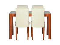 Newton Walnut Stain Dining Table & 4 Cream Chairs
