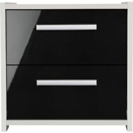 New Sywell 2 Drawer Bedside Chest - White and Black Gloss