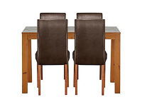 Newton Walnut Stain Dining Table & 4 Chocolate Chairs