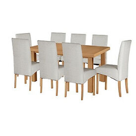 Cosgrove Ext Oak Stain Dining Table-8 Grey Chairs
