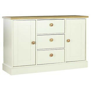 Winchester 2 Door 3 Drawer Sideboard - Soft White/Solid Oak