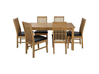 HOME Ashdon 150cm Table and 6 Paris Chairs -Oak Stain Black