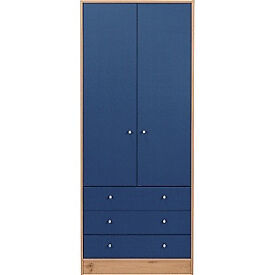 New Malibu 2 Door 3 Drawer Wardrobe - Blue on Pine