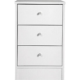 New Malibu 3 Drawer Bedside Chest - White