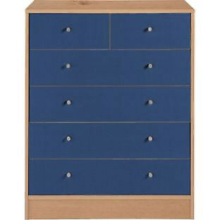 New Malibu 4+2 Drawer Chest - Blue on Pine