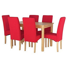 Lincoln Oak Effect 150cm Dining Table and 6 Red Chairs