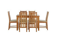 Stanford Oak Effect 150cm Dining Table and 6 Cream Chairs