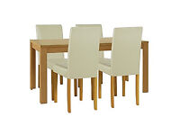 Penley Oak Stain Extendable Dining Table and 4 Cream Chairs