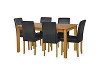 HOME Ashdon Oak Stain 150cm Table & 6 Black Mid Back Chairs
