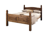 Fully assembled Puerto Rico Double Bed Frame - Dark Pine