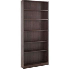 Maine Tall Wide Bookcase - Walnut Effect