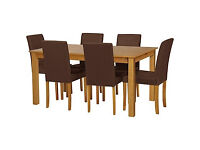 HOME Ashdon Oak Stain 150cm Table & 6 Chocolate Chairs