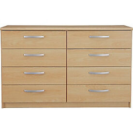 New Hallingford 4+4 Drawer Chest - Beech Effect