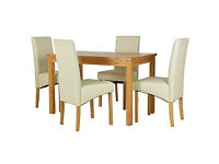 Lincoln Oak Effect 120cm Dining Table and 4 Cream Chairs