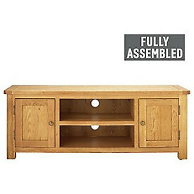 Kent Large TV Bench - Solid Oak & Oak Veneer