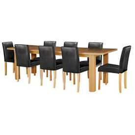Shenley Oak Effect Extendable Table & 8 Black Chairs (NEW)