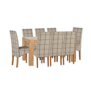 Heart of House Alston 180cm Dining Table &8 Chairs-Oak Check