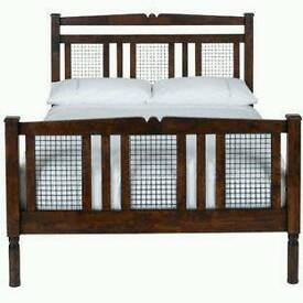 Solid dark wood double bed frame with metal detail 'Morocco' range homebase