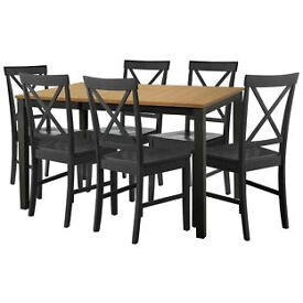 Extendable Dining Table 6 Black Cross Back Chairs