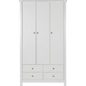 Osaka 3 Door 4 Drawer Wardrobe - White