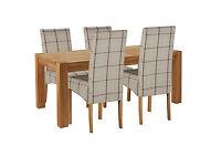 Heart of House Aspley Table & 4 Check Skirted Chairs.