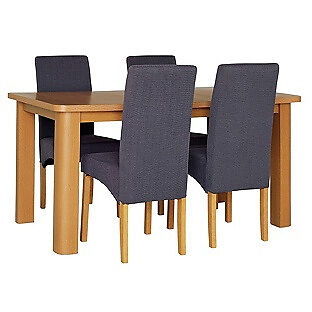 HOME Stonebury Table & 4 Skirted Chairs -Oak Stain Charcoal