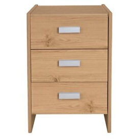 New Capella 3 Drawer Bedside Chest - Pine effect.