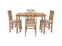 Ava Oak Stain Dining Table and 4 Cream Chairs