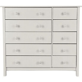 Scandinavia 5+5 Drawer Chest - White