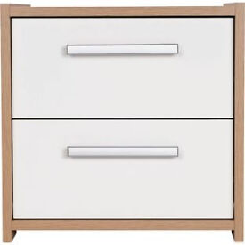 New Sywell 2 Drawer Bedside Chest - Oak Effect and White