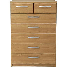 New Hallingford 5+2 Drawer Chest - Oak Effect